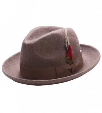 Montique Untouchable Fine Felt Pinch Fedora Gangster Hat - Cork - C612NA97V80