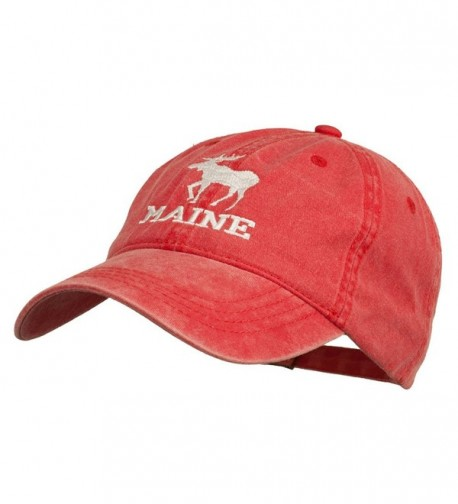 Maine State Moose Embroidered Washed Dyed Cap - Red - C311P5HWKZD