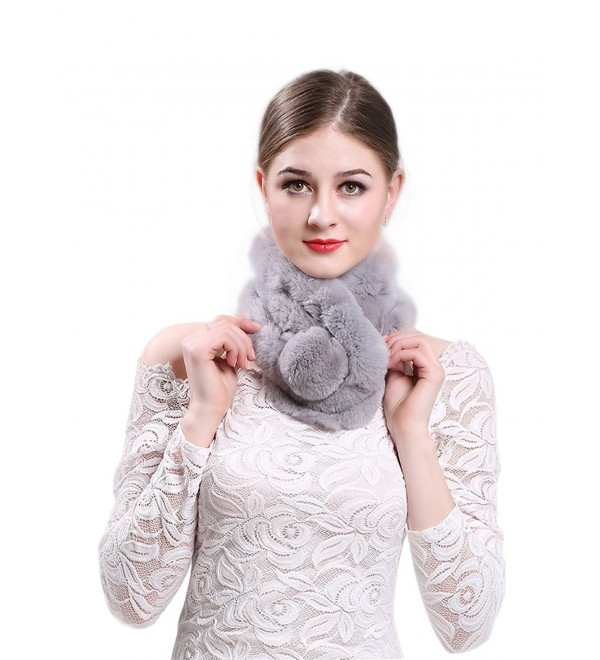 LITHER Women Rabbit Fur Collar Scarf Shawl Collar Wrap Scarves for winter coat - Gray - CD187T7G0WY