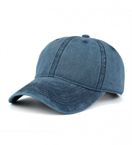 WINCAN Vintage Washed Dyed Cotton Twill Low Profile Adjustable Baseball Cap - Navy Blue - C017YCHMMSE