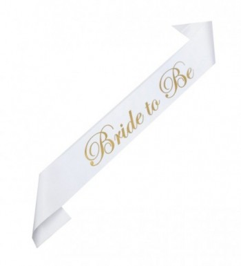 DreamLily Bride & Mummy To Be White Satin Sash Bachelorette Party Baby Shower Accessories XN03 - White Bride - CG183TG2745