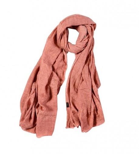 Monique Women Lace Cotton Linen Long Scarf Winter Outdoor Travel Scarves Wraps Shawls - Pink - CX186UEM8SU