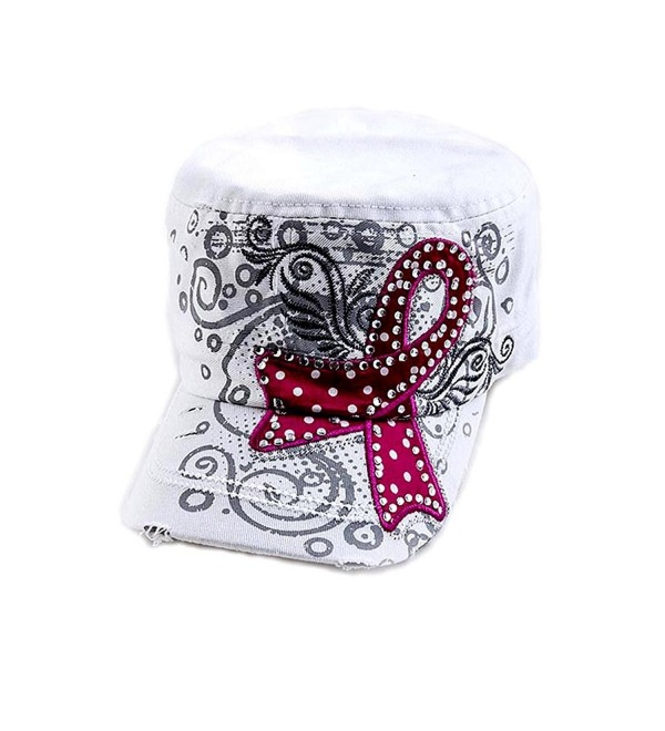 White Military Style Cap with Breast Cancer Awareness Pink Ribbon studded with Rhinestones- One Size - CS11LDZNT2T