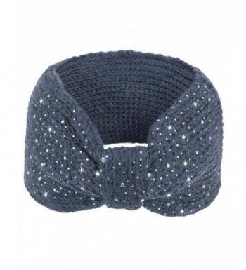 Dahlia Women's Wide Knitted Headband - Sparkle Bow - Gray - CG12N8A9JLD