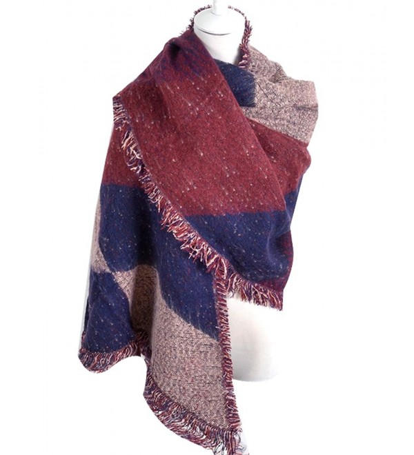 Adela Boutique Womens Warm Scarf Shawl Cashmere Checkered Plaid Wrap Lattice Bandana - Wine Red - C9187CMLK30