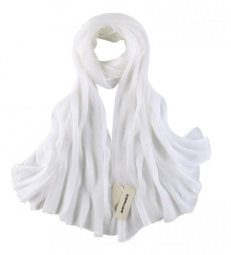 ZORJAR 100%silk Scarf Yoryu Chiffon Slightly-Crumpled Long Wrap - White - C411WFGCC87