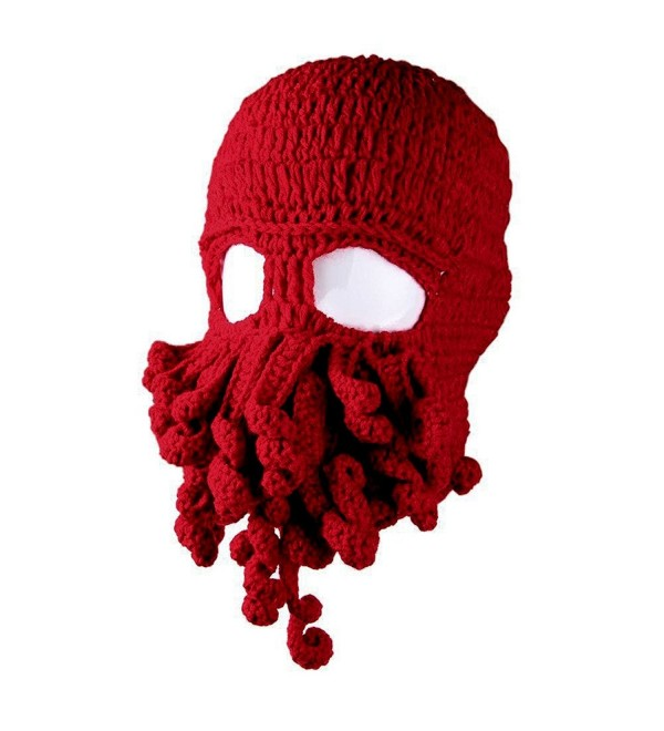 Amurleopard Unisex Barbarian Knit Beanie Octopus (One Size- Red) - C917X0M35GX