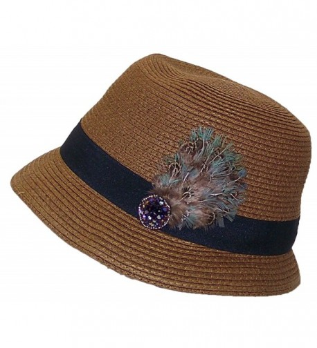 A&W Women's Paper Straw Cloche Hat W/Jewels- Feathers & Band (One Size) - Brown - C611Y98FQR3