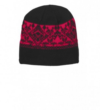 Joe's USA - Classic Nordic Patterned Beanies in 3 colors - Black/ Red - CM11Q5DUJ77