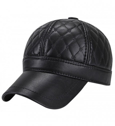 Panegy Mens Winter PU Fleece Hat Lined Fur Padded Baseball Cap with Fold Earflaps - Black - C9187876UXC