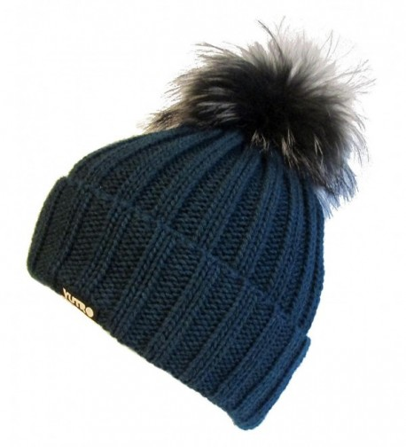 Women's Fashionable Wool Winter Hat With Trendy Fox Pom by Yutro Fashion OCEAN BLUE - C311Q5FP08X