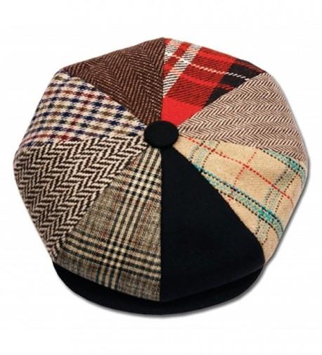 Mens Patchwork Wool Big Apple Duckbill Ivy Newsboy Irish Tweed Cap Hat - CH11PK06G5P