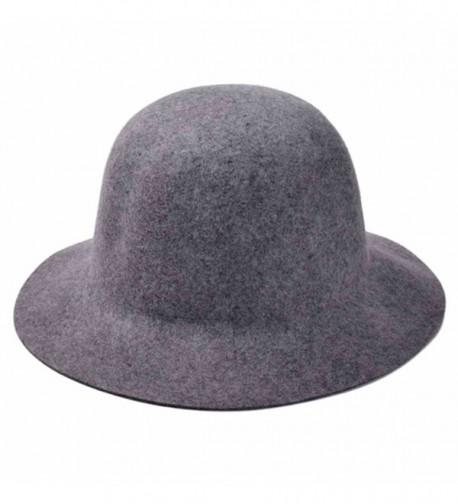ZLYC Women 100% Wool Minimalist Fashion Winter Felt Bowler Hat Floppy Cloche Cap - Gray - C311O5JW9A7