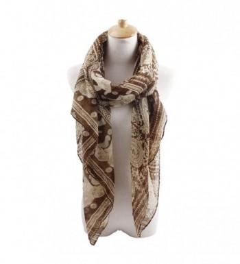 Herebuy - Designer Animal Scarves: Fashionable Elephant Print Scarf - Coffee - C011QB9B7GR