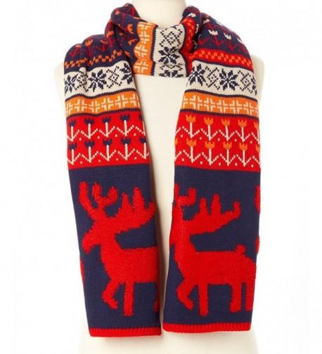 Novadab Woodland Reindeer Knit Scarves - Red - CR187ISGEZN