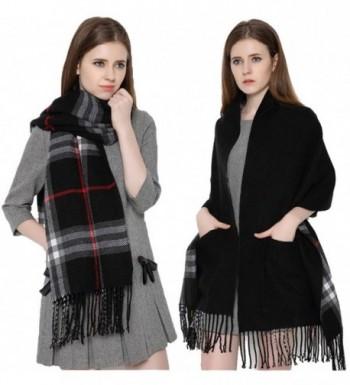 Runtlly Women's Cozy Soft Tartan Shawl Shawl Wrap Scarf Warm Plaid Checked Pashmina - Black - CJ12M86OOK7