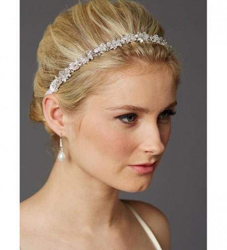 Mariell Crystal Cluster Bridal Wedding Headband Hair Vine with White Satin Ribbon - CV12G8Z5FBV