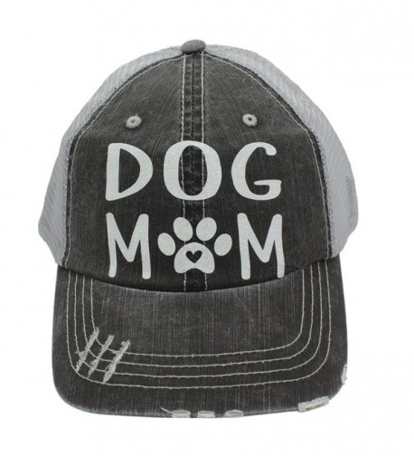 Dog Mom Paw Print Heart Women Trucker Cap Hat White Glitter - CF185UKIWID