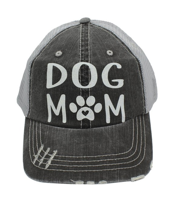 Dog Mom Paw Print Heart Women Trucker Cap Hat White Glitter - CF185UKIWID