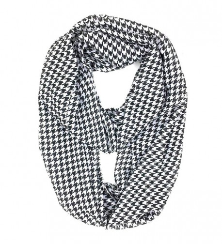 Tapp Collections Premium Soft Multicolor Sheer Infinity Scarf - Houndstooth/Black White - CN12O090A5Q