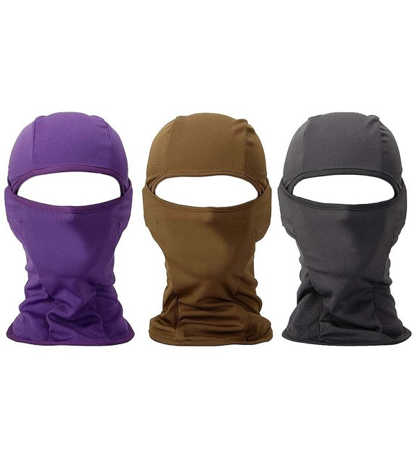 Bundle Monster 3pc Lightweight Breathable Wind UV Protecting Face Mask Balaclava - Purple Brown + Gray - CC11UB5DV07