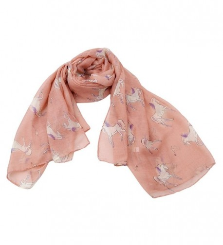 CH Girls Womens Lightweight Scarf Shawl Wrap with Unicorn Horse Print (Pink) - C91888K4X3H