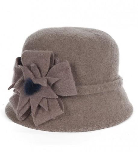 Fanny Vintage Women's Knitted Wool Felt Cloche Winter Hat - Khaki - CO127PX8F49