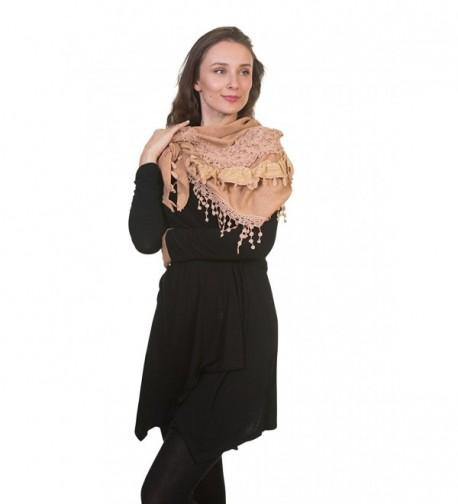 Daisy Knitted Womens Lightweight Patterned Fashion Triangle Design Shawl Scarf - Sand - CM12B3VI995