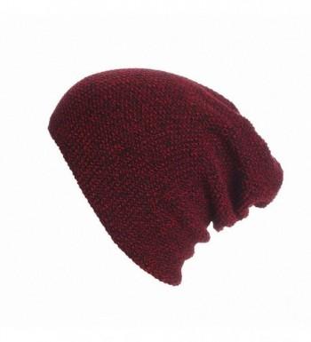 Maoko Unisex Slouchy Winter Hats Knitted Skull Caps Soft Warm Beanie - 107-winered - CE12MKATC0H