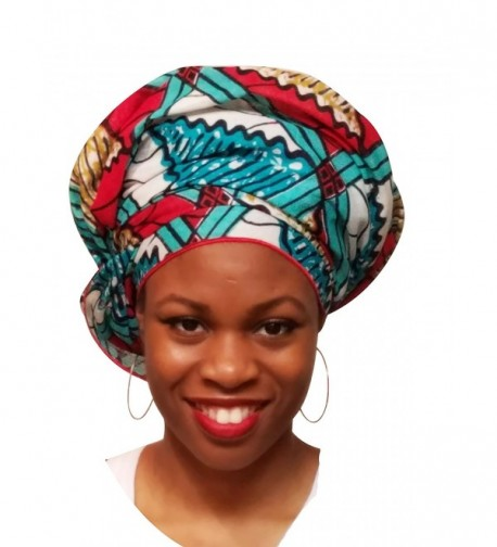 Red- Turquoise African Print Ankara Head wrap- Tie- scarf- One Size - CW12NA07ZFM