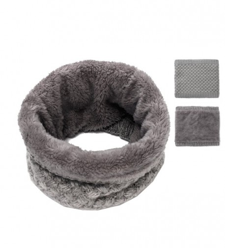 Epeius Kids Girls/Boys Winter Knitted Infinity Scarf Polar Fleece Neck Warmer - Gray - C5188GR3SKX
