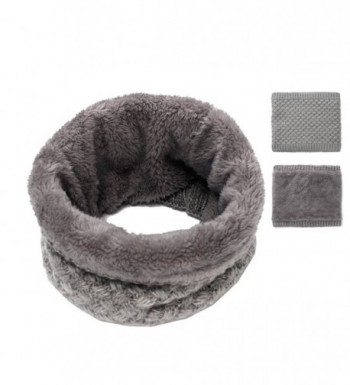 Epeius Kids Girls/Boys Winter Knitted Infinity Scarf Polar Fleece Neck Warmer - Gray - C5188GR3SKX