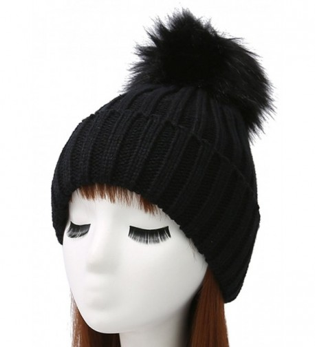 Woogwin Womens Winter Knit Beanie Hat Warm Fleece Pom Pom Slouchy Skull Ski Caps - Black - C6189NZKILN