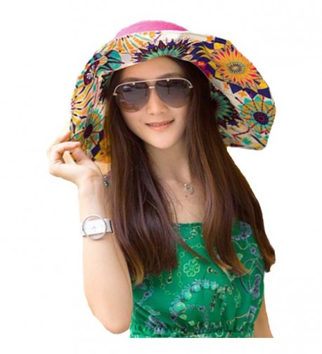 Cuca Dunna Woman Beach Hats Floppy Wide Brim Foldable Straw Sun Hat Bowknot Flower Topee Cap - Rose - CB12IQROF6Z