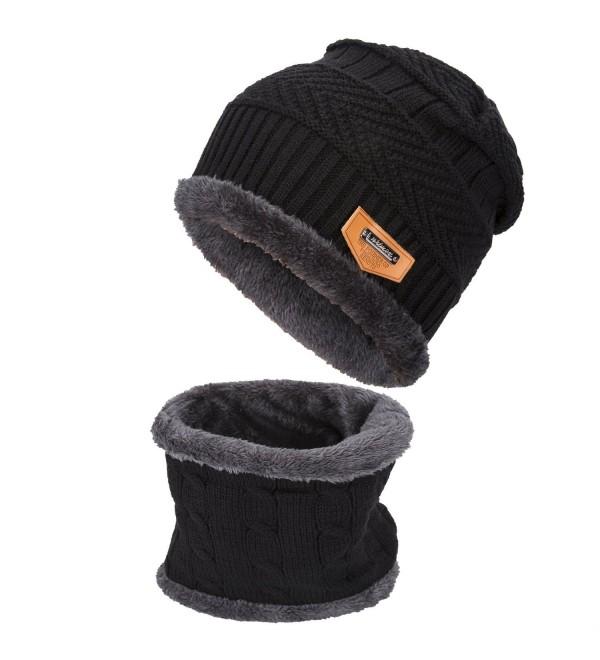 Gladys Moses Winter Beanie Warm Knit Hat Snow Ski Skull Cap Hat Scarf Set - Black - C91897SH6GE