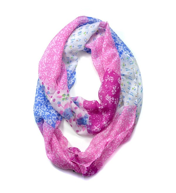 Dasein Floral Patchwork Pattern Infinity Scarf - Pink - CQ11UJ8OOMF