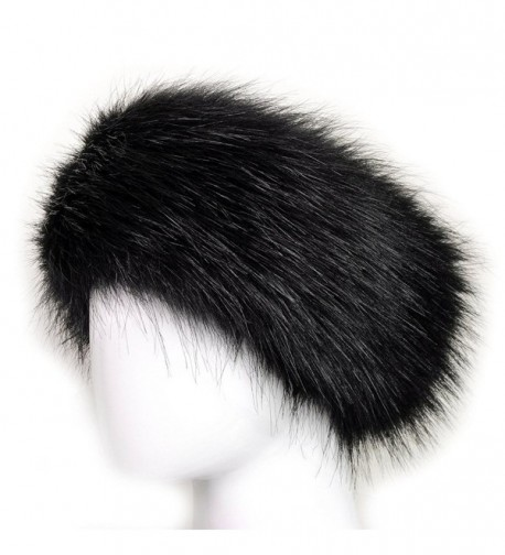 Dikoaina Womens Faux Fur Headband Winter Earwarmer Earmuff Hat Ski - Black - CU12K3NDNRR