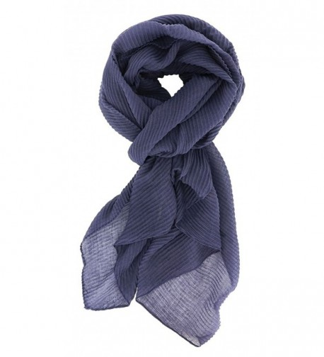 7 Seas Republic Women's Solid Pleated Fashion Scarf - Navy - C0188I73D0K