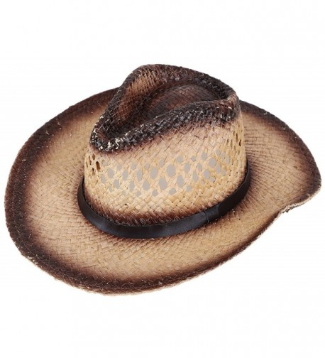 Simplicity Western Men / Women Cowboy Straw Hat with Leather Band - Chestnut_belt - C912HVN4JCZ