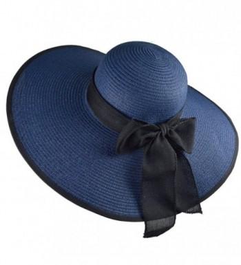 DRESHOW Floppy Beach Hat For Women Large Brim Straw Sun Hats Roll up Packable UPF 50+ - Navy - CW1804MKA0G