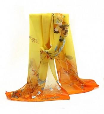 Sanwood Scrawl Flower Printed Soft Chiffon scarves - Yellow - CK1268AGJUV