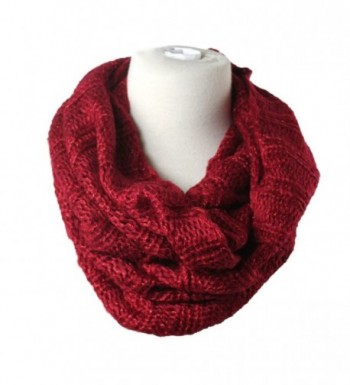 Premium Women's Winter Warm Scarf Infinity Cable Knit Cowl Neck Long Scarf Shawl - Warm Red - C3127KBLM69