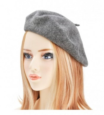 Wool Beret Hat Classic Solid Color French Beret for Women - Melange Grey - CF187Q5XOKR