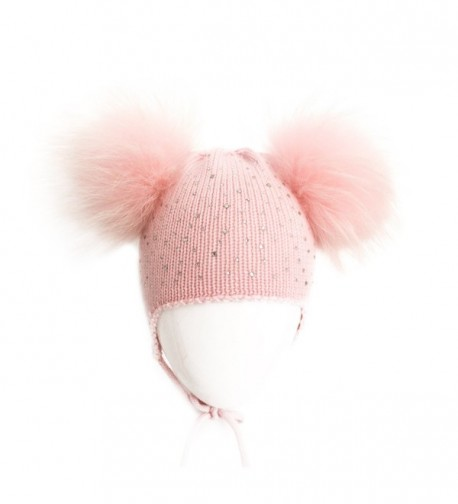 Girl's Pink Knitted Woolen Beanie Rhinestone Caps with Two Fox Fur Pompoms - CX184Z6U676