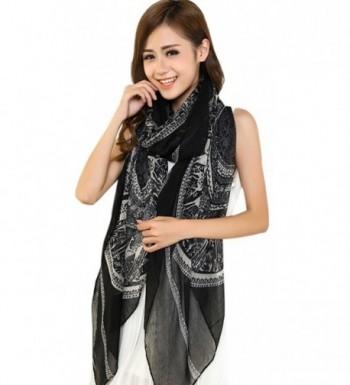 Large Size Fashion Govi Design Voile Shawl Pashmina Scarf Wrap Stole CJ Apparel NEW - Black - CU11QFD62D7