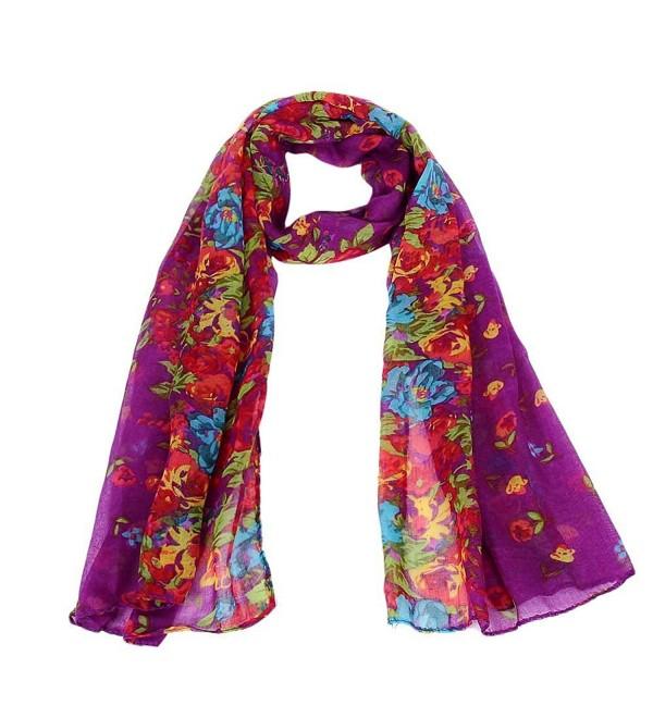 Sandistore Women Soft Scarf Long Wraps Shawl Flower - Purple - CY127BBZ06L
