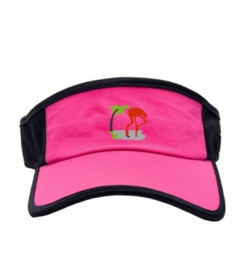 Women Flamingos Embroidered Hat Summer Beach Hat - Pink - CM182EUKEQG