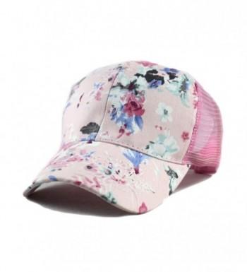 Qunson Junior's Flower Print Mesh Trucker Baseball Cap Hat - Pink - C512DF5C80D