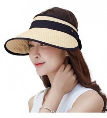 SiggiHat Womens UPF Wide Brim Straw Visor Cap Rollable Sun Hats Free Size - 89044_beige - CH17YIRE83C