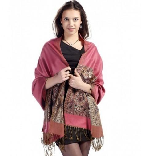 SexyTown Women's Vintage Paisley Pashmina Stole Shawl Wrap Long Jacquard Scarf - Pink2 6pc - CX127OV3079
